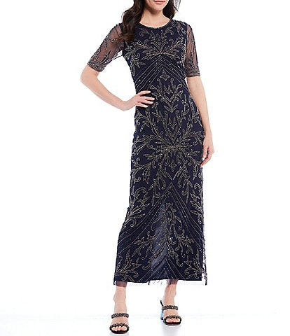 Pisarro Nights Short Sleeve Beaded Mesh Gown