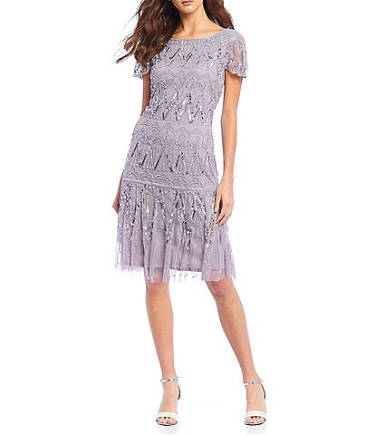 Pisarro Nights Short Sleeve Sequin Beaded A-Line Dress