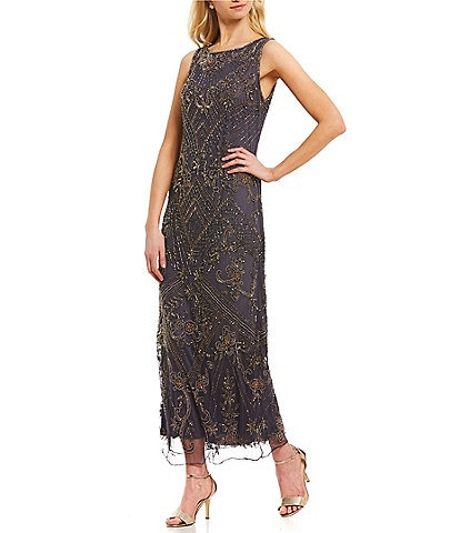 Pisarro Nights Sleeveless Long Beaded Column Gown