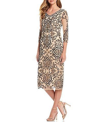 Pisarro Nights V-Neck 3/4 Sleeve Beaded Sheath Dress