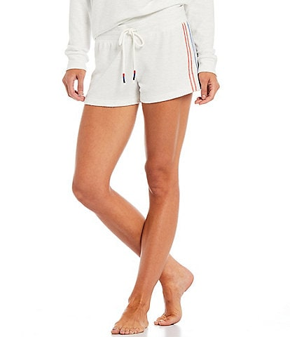 PJ Salvage American Dreams Embroidered Ticking Jersey Knit Coordinating Sleep Shorts