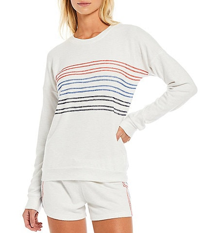 PJ Salvage American Dreams Embroidered Ticking Jersey Knit Coordinating Sleep Top