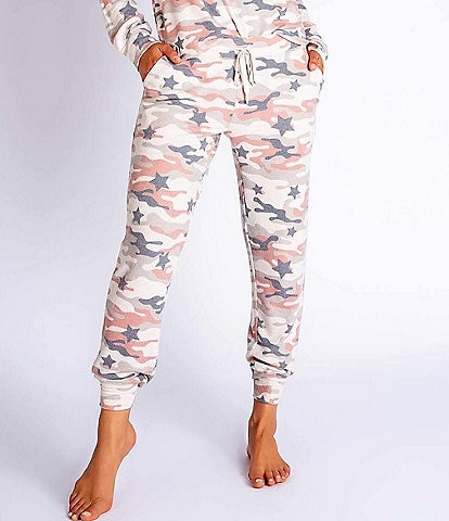 PJ Salvage Camouflage & Stars Print Peachy Jersey Knit Jogger Pants