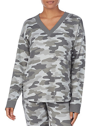 Kensie Camouflaged Print Jersey Knit Sleep Top