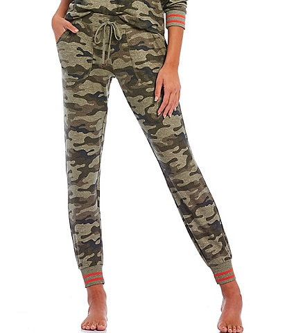 PJ Salvage Camouflaged Print Peachy Knit Jogger Pants