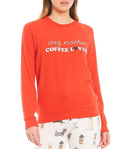 PJ Salvage #double;Dog Mother, Coffee Lover#double; Jersey Knit Sleep Top