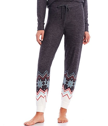 PJ Salvage Festive Fairisle Print Peachy Jersey Jogger Sleep Pants