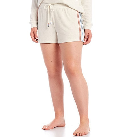 PJ Salvage Plus American Dreams Embroidered Ticking Jersey Knit Sleep Shorts