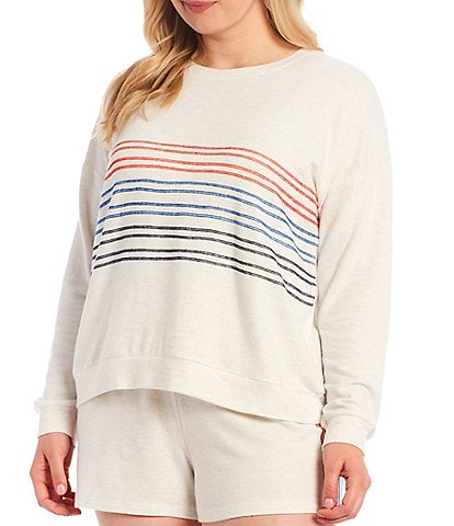 PJ Salvage Plus American Dreams Embroidered Ticking Jersey Knit Sleep Top