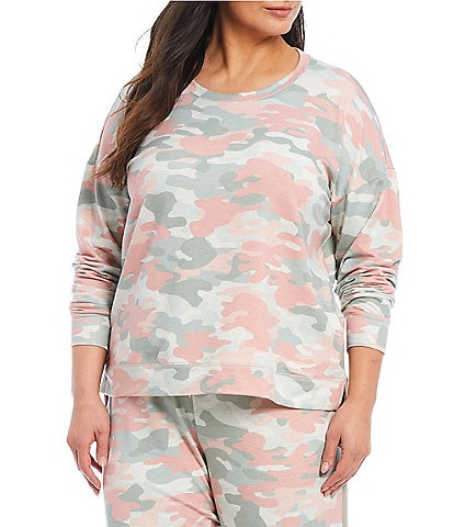 PJ Salvage Plus Camouflaged Printed French Terry Sleep Top