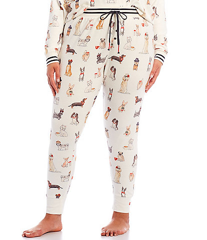 PJ Salvage Plus Coffee & Canines Print Jersey Knit Jogger Sleep Pants