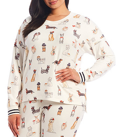 PJ Salvage Plus Coffee & Canines Printed Jersey Knit Sleep Top
