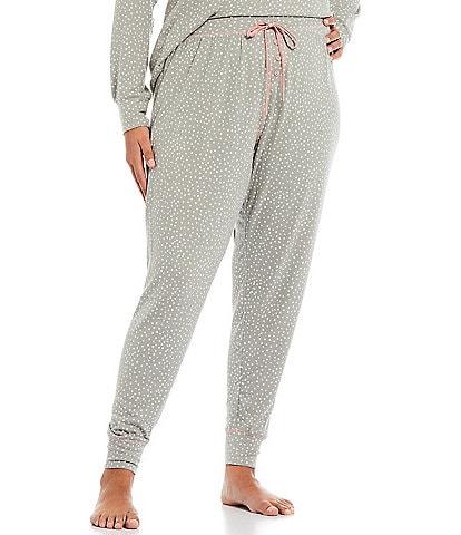 PJ Salvage Plus Dollie Dot Print Jersey Knit Jogger Coordinating Sleep Pants