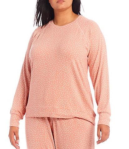 PJ Salvage Plus Dollie Dot Print Jersey Knit Round Neck Long Sleeve Coordinating Sleep Top