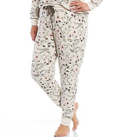 PJ Salvage Plus Floral Print Brushed Thermal Jogger Sleep Pants