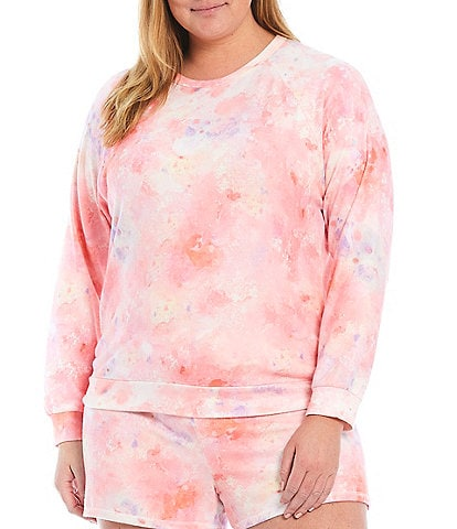 Pj Salvage Plus Melting Crayons Tie Dye Printed Knit Sleep Top