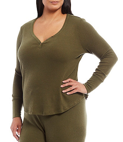 PJ Salvage Plus Ribbed Knit Henley Lounge Top