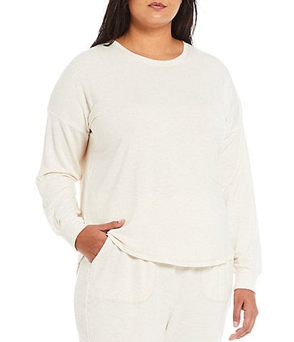 PJ Salvage Plus Size Round Neck Long Sleeve Essentials French Terry Sleep Top