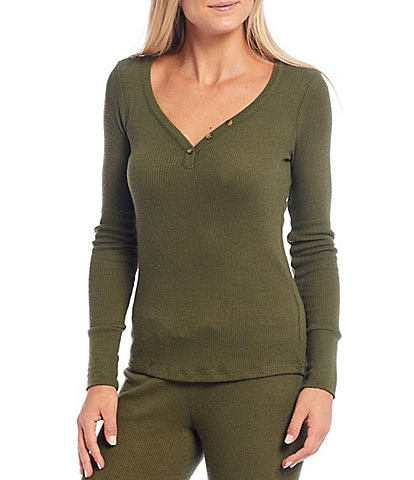 PJ Salvage Ribbed Knit Henley Top