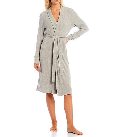 PJ Salvage Solid Ribbed Knit Long Wrap Robe