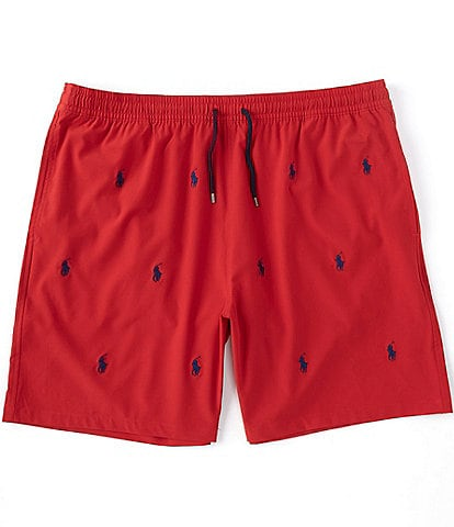 Polo Ralph Lauren Big & Tall Allover Pony Traveler 6.5#double; and 7.5#double; Inseam Swim Trunks