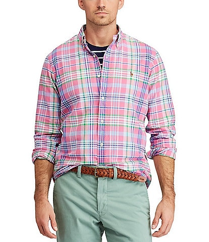 Polo Ralph Lauren Big & Tall Multi-Color Plaid Oxford Long-Sleeve Woven Shirt