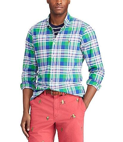304209081404 Polo Ralph Lauren Big   Tall Plaid Oxford Long-Sleeve Woven Shirt