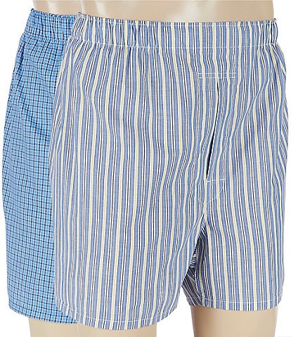 Polo Ralph Lauren Big & Tall Rimini Stripe & Muller Plaid Woven Boxers 2-Pack