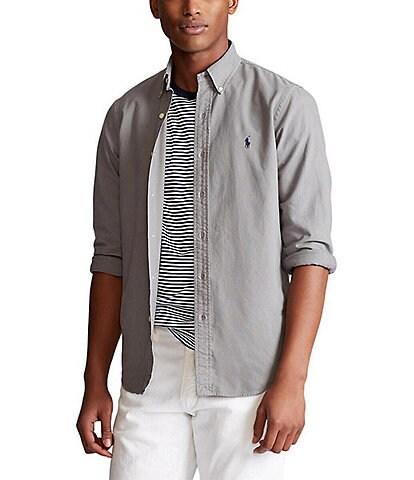 Polo Ralph Lauren Big & Tall Solid Garment-Dye Oxford Long-Sleeve Woven Shirt