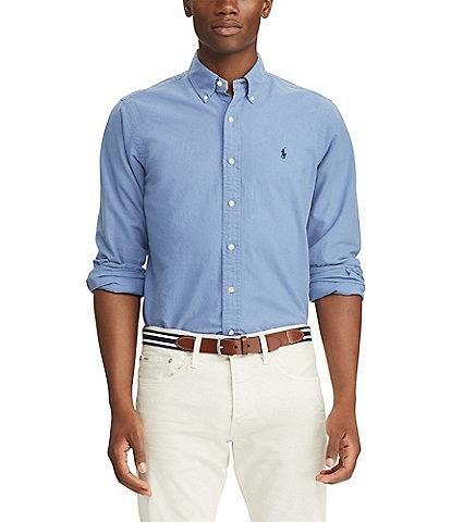 Polo Ralph Lauren Big & Tall Solid Garment-Dye Oxford Long-Sleeve Woven Shirt