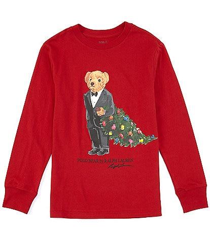 Polo Ralph Lauren Big Boys 8-20 Christmas Tree Polo Bear Long Sleeve Tee