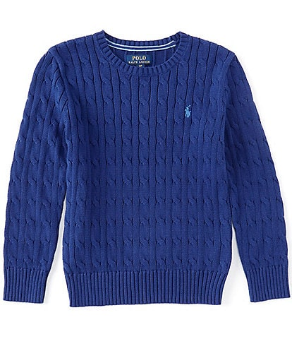 Polo Ralph Lauren Big Boys 8-20 Long Sleeves Ribbed Cable-Knit Crew Pullover Sweater