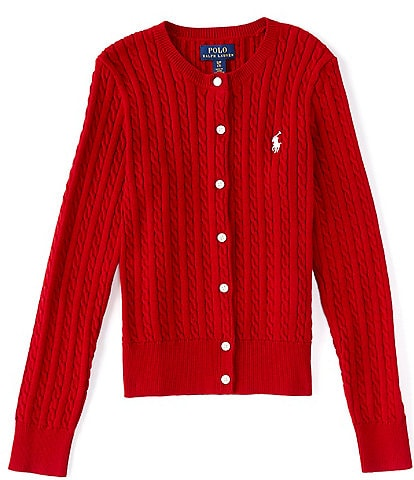 Polo Ralph Lauren Big Girls 7-16 Cable-Knit Cotton Cardigan