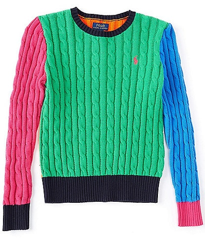 Polo Ralph Lauren Big Girls 7-16 Colorblock Cable-Knit Sweater