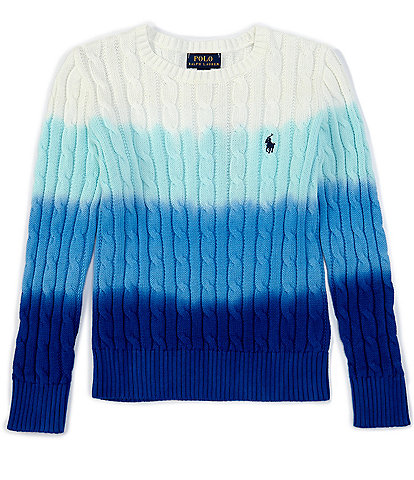 Polo Ralph Lauren Big Girls 7-16 Dip-Dye Cable-Knit Sweater