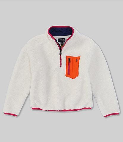 Polo Ralph Lauren Big Girls 7-16 Long-Sleeve Faux-Shearling Half-Zip Sherpa Pull-Over