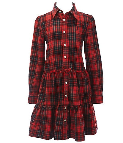 Polo Ralph Lauren Big Girls 7-16 Christmas Plaid Fit-And-Flare Tiered Shirt Dress
