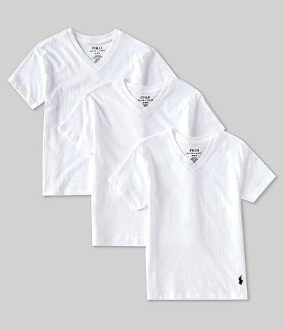Polo Ralph Lauren Boys 8-20 Short-Sleeve Classic V-Neck Tee 3-Pack