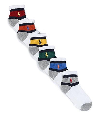 Polo Ralph Lauren Boys Quarter-Length Vintage Socks 6-Pack
