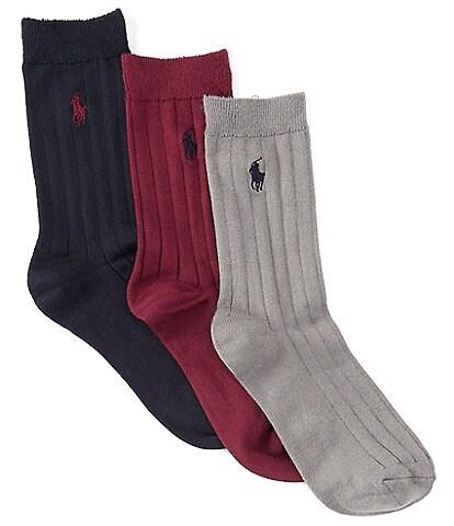 Polo Ralph Lauren Boys Super Soft Ribbed Dress Sock 3-Pack