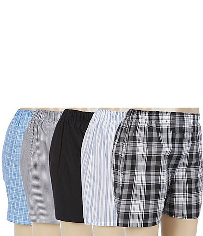 Polo Ralph Lauren Classic Cotton Woven Assorted Boxers 5-Pack