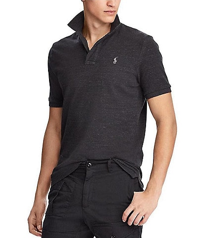 Polo Ralph Lauren Classic-Fit Black Marl Heather Solid Mesh Polo Shirt