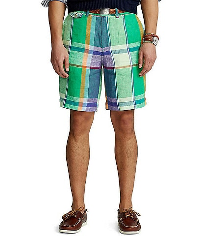 Polo Ralph Lauren Classic-Fit Linen Madras 9#double; Inseam Shorts