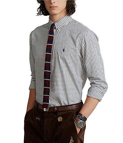 Polo Ralph Lauren Classic-Fit White Plaid Twill Long-Sleeve Woven Shirt
