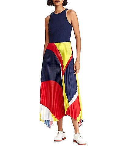 Polo Ralph Lauren Colorblock Accordion Pleated Georgette Maxi Dress