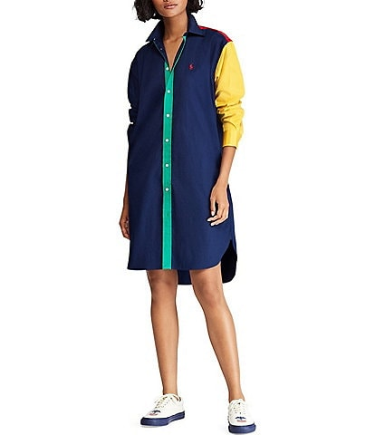 Polo Ralph Lauren Colorblocked Cotton Shirt Dress