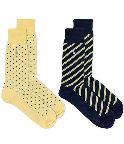 Polo Ralph Lauren Dot Crew Dress Socks 2-Pack