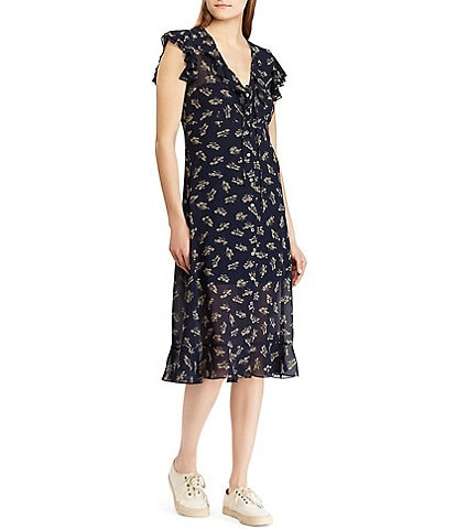 Polo Ralph Lauren Ditsy Floral Print Georgette Dress