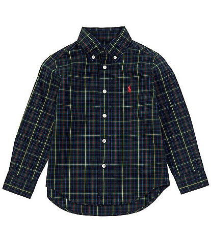 Polo Ralph Lauren Little Boys 2T-7 Long-Sleeve Blue Holiday Plaid Poplin Shirt