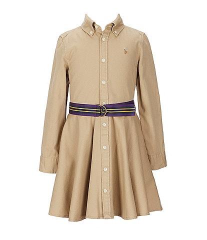 Polo Ralph Lauren Little Girls 2T-6X Button-Front Belted Shirtdress